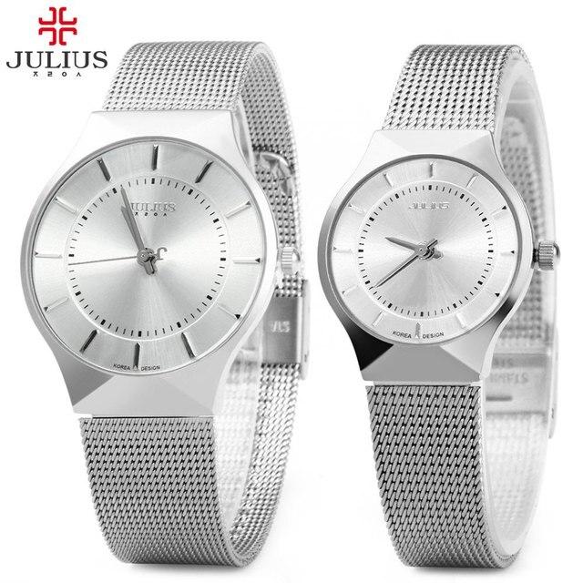 Par de Par de Julius Cuarzo Reloj de Pulsera de Acero Completo Ultrafino Amantes de Relojes de Moda A Prueba de agua Los Hombres Relojes de Las Mujeres relogio