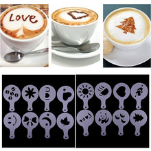 16Pcs/Lot Coffee Art Tool Creative Plastic Garland Mold  Fancy Printing Mould Spray For The 2019 Free Ship