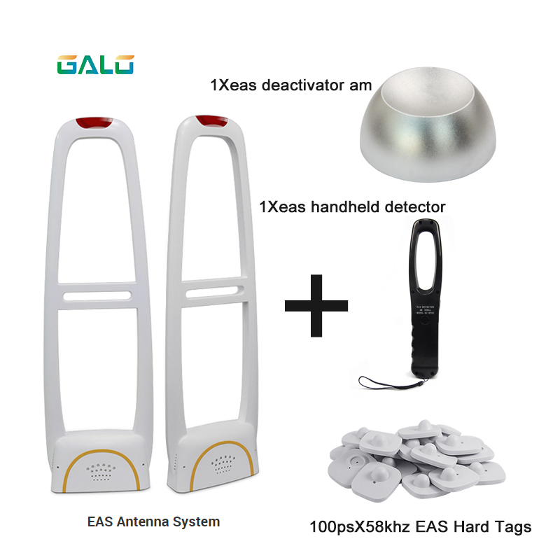 EAS Alarm System Clothing Anti-theft Gate System With Detacher& Hard Tags& Handheld Frequency Tester Set Sell