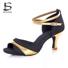 2017 Dance Shoes Adult Women Satin Material Ballroom Latin Tango Salsa High Heel Soft Sole Professional