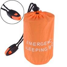 Многоразовая экстренная помощь спальный мешок водонепроницаемый выживания кемпинг дорожная сумка и свисток для путешествий Кемпинг горячая распродажа