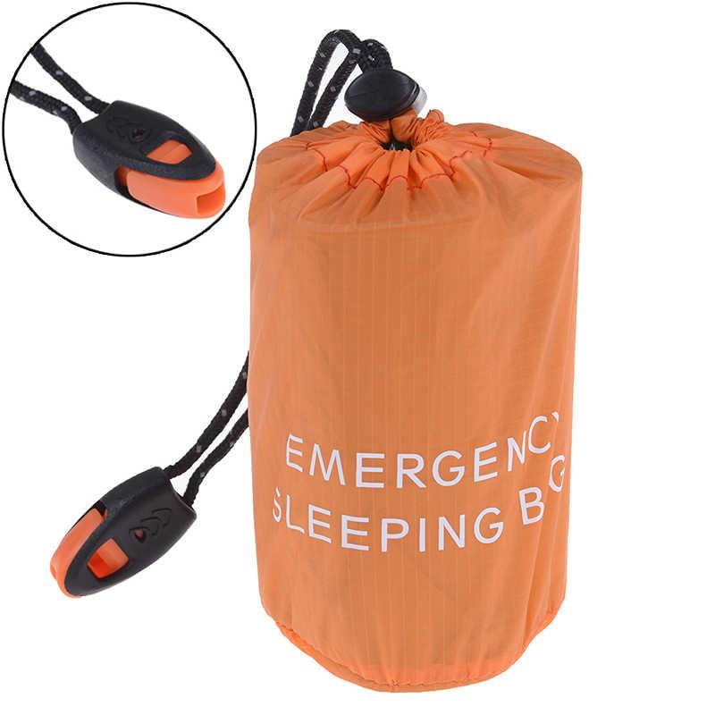 再利用可能な緊急寝袋防水サバイバルキャンプ旅行バッグ & 笛旅行キャンプハイキングのためのホット