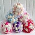 Свадьбы брошь букеты для невесты люкс и жемчуг ручной красный фиолетовый свадебный корсаж с кружевом кристалл