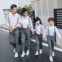 2pcs Long Shirt + Suspenders Family Sets Cotton Solid Long Blouse and Pants for Father Mother Daughter Son Family Matching Suits