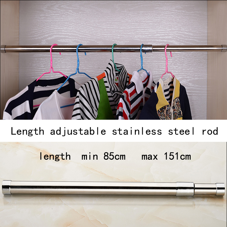 Stainless steel telescopic wardrobe hanging pole minimum adjust length 85cm maximum length 151cm cupboard rod easy installStainless steel telescopic wardrobe hanging pole minimum adjust length 85cm maximum length 151cm cupboard rod easy install