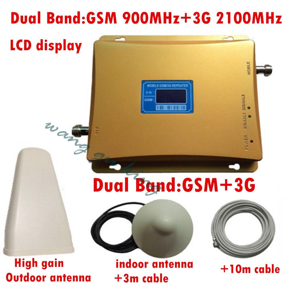 Répéteur GSM 3G double bande GSM 900 MHz 2100 MHz W-CDMA UMTS répétidor 3G amplificateur de Signal d'antenne 2G 3G ensembles de Booster de téléphone portable
