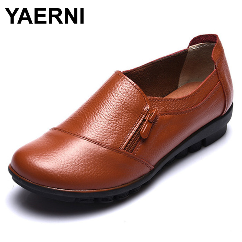 YAERNI 2017 New spring genuine leather flat heel women single shoes women's casual shoes female flats leisure shoes soft mother cresfimix zapatos women cute flat shoes lady spring and summer pu leather flats female casual soft comfortable slip on shoes