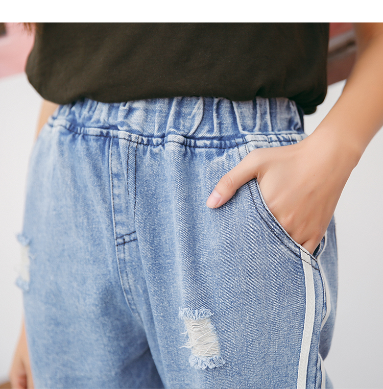 Großhandel 2017 Neue Vintage Löcher Jeans Frauen Casual Denim Hose Frühling Sommer Hohe Taille Zerrissenen Jean Damen Weiß Gestreiften Seitenboden S