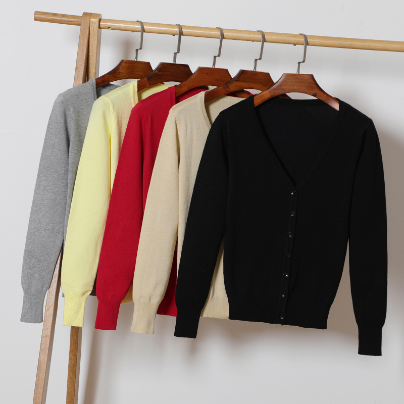 Otoño nuevas mujeres Cardigan de punto Fashon cuello en V de manga larga sólido Casual suéter de punto abrigo más tamaño 4XL mujer Cardigan abrigo