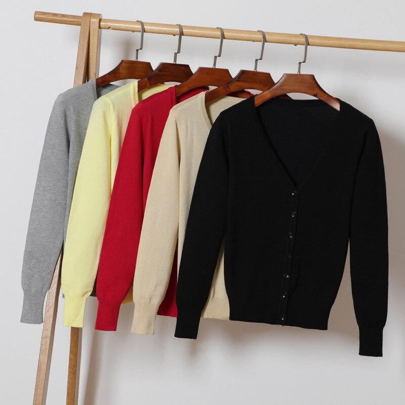 Otoño nuevo de las mujeres hizo punto Fashon v-cuello de manga larga sólido Casual suéter más tamaño 4XL capa de la Rebeca femenina