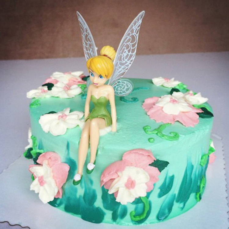 6pcs Set Cute Beautiful Tinkerbell Princess Doll Cake Topper Birthday Decorations For Party Baby Shower