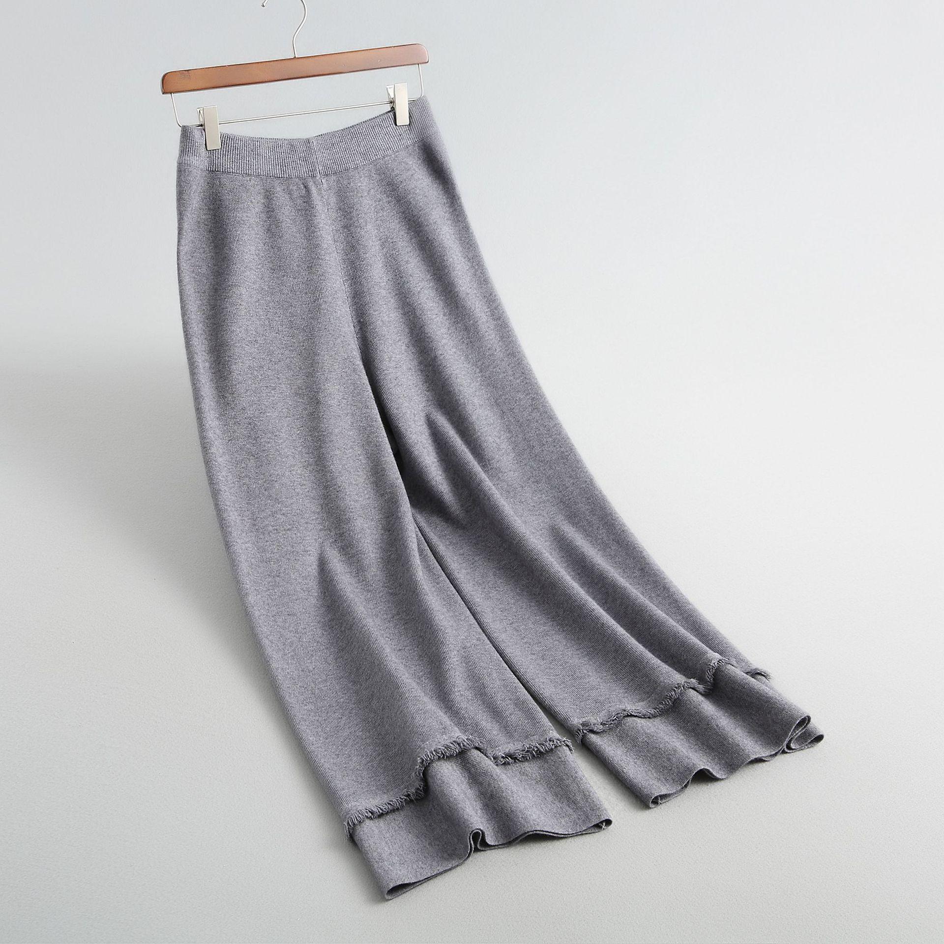 coral Nuevo gris Moda Otoño Punto Anchos Pierna Inviernos Beige Fondo Knitting Rojo Pantalones De amarillo Del 2018 Borla Mucho Mujeres Ancha negro xwUISRX6q