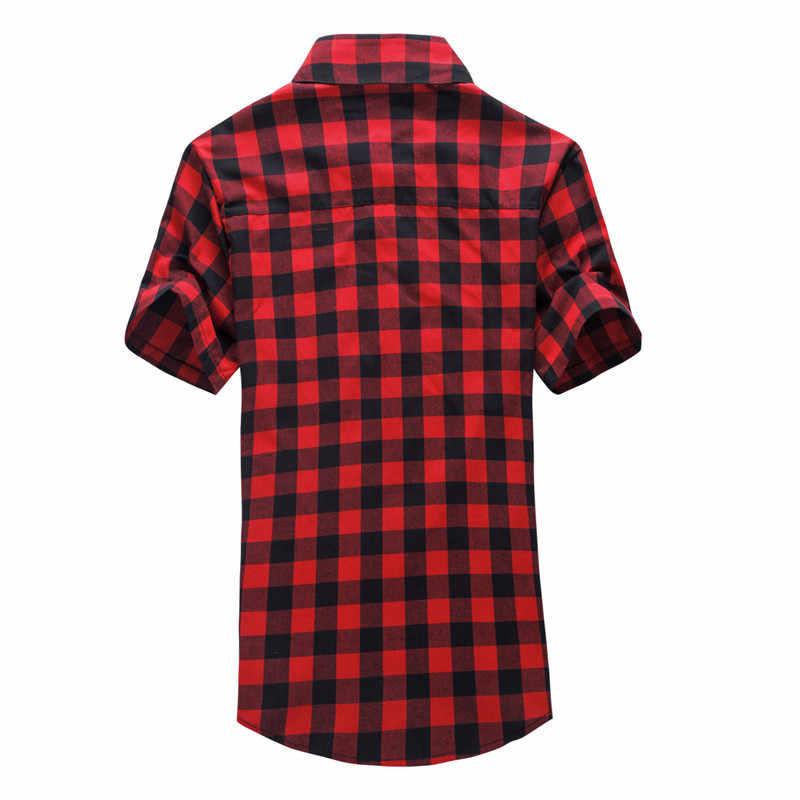 Темно-синий и зеленый плед рубашки для мужчин 2019 Новое поступление летние мужские повседневные рубашки с коротким рукавом модные Chemise Homme мужские рубашки