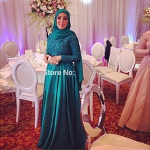Hijab Long Sleeve Lace Evening Dresses Party A Line Satin Women Beaded Dubai Arabic Formal Evening Gowns Dresses