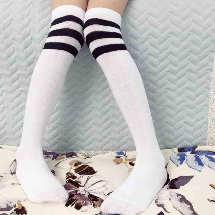 86493a07058 ... 1 Pair Kids knee socks girls boys Football Stripes Cotton Sports School  Style White Socks Skate ...