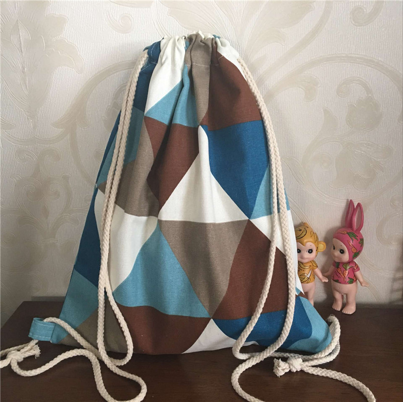 YILE Cotton Canvas Drawstring Backpack Rucksack Geometry Blue Brown Triangle B20