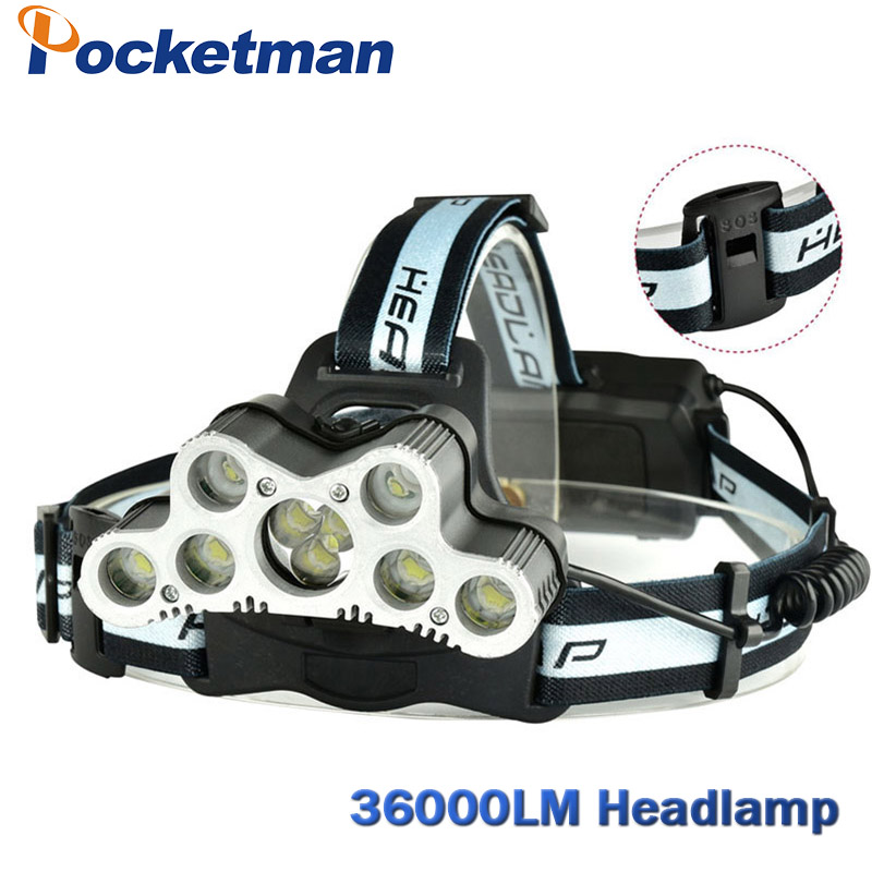 Super 36000LM USB 9 CREE LED Led Headlamp Headlight head flashlight torch cree XM-L T6 head lamp rechargeable for 18650 battery rechargeable 2000lm tactical cree xm l t6 led flashlight 5 modes 2 18650 battery dc car charger power adapter