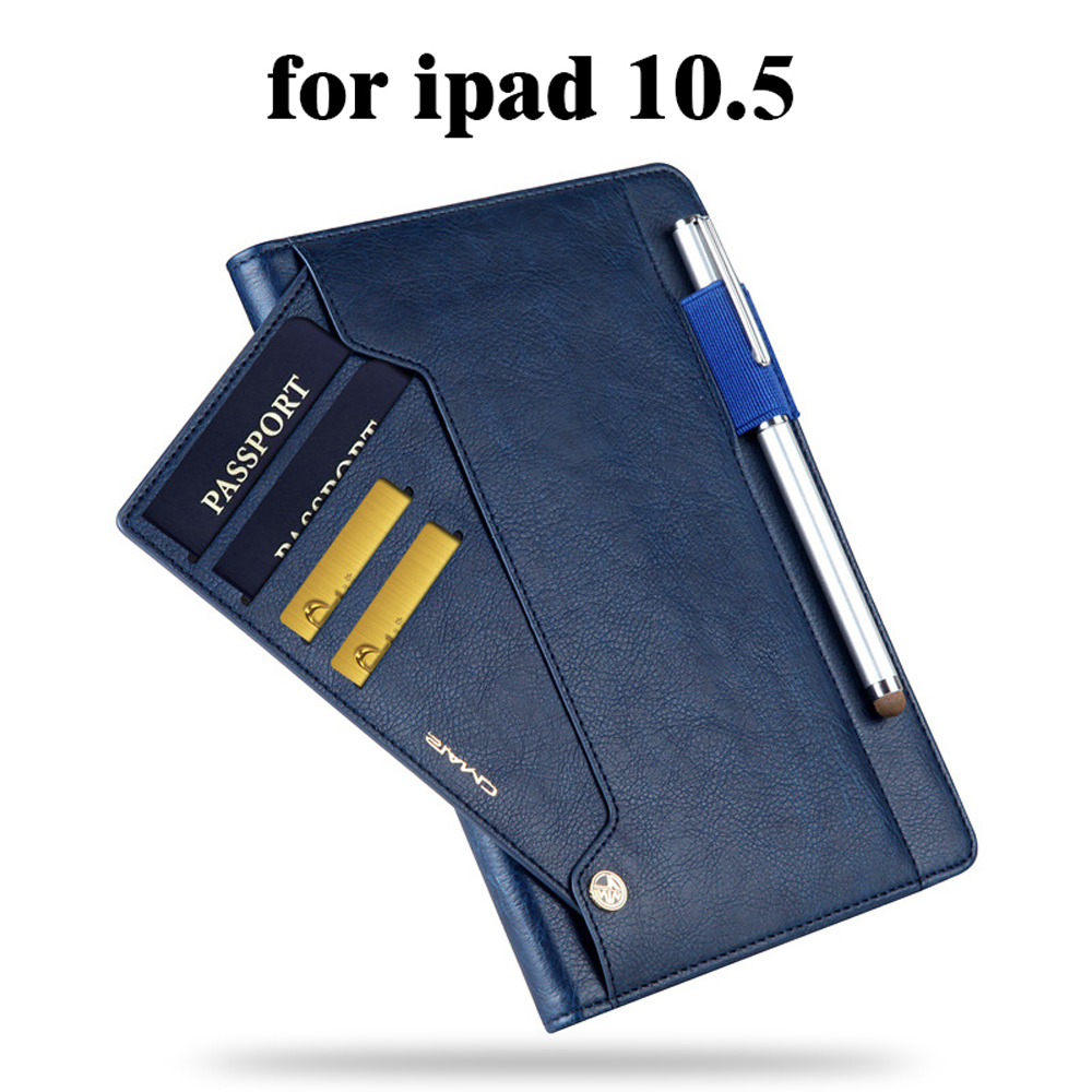 Genuine Leather Case for Apple iPad Pro 10.5 inch 2017, Business Smart Cover / Card Slots / Pencil Holder Sleeve Flip surehin nice smart leather case for apple ipad pro 12 9 cover case sleeve fit 1 2g 2015 2017 year thin magnetic transparent back