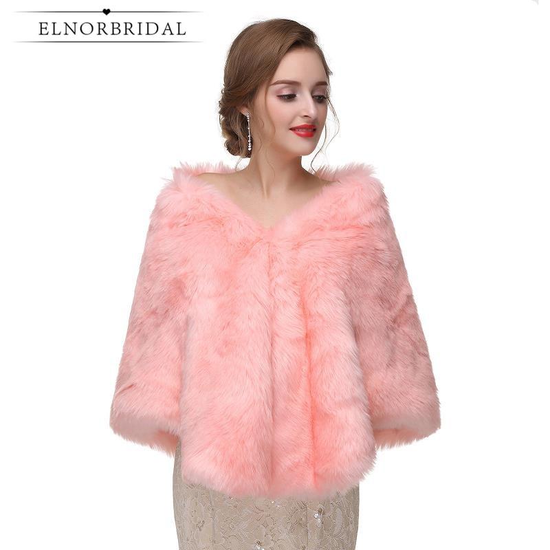 6bfe09e0684 Pink Winter Wedding Bolero For Women 2019 Elegant Wedding Dress Coat High  Quality Bridal Jacket Wraps