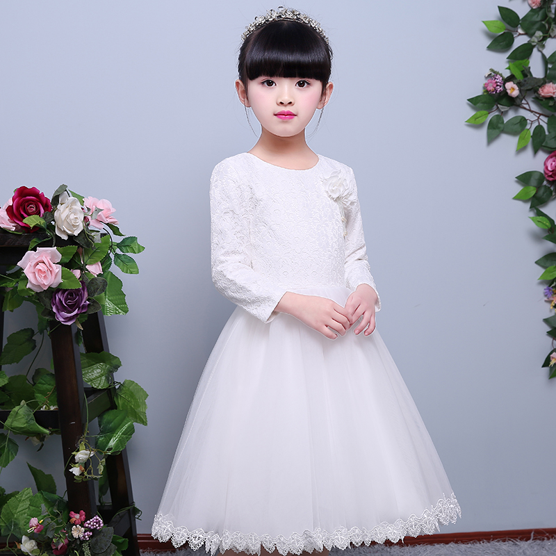 2017 New Summer Baby Girl Party Long Sleeves Dress Snow Queen Princess Dresses For Girls Christmas Costume Toddler Girls Clothes