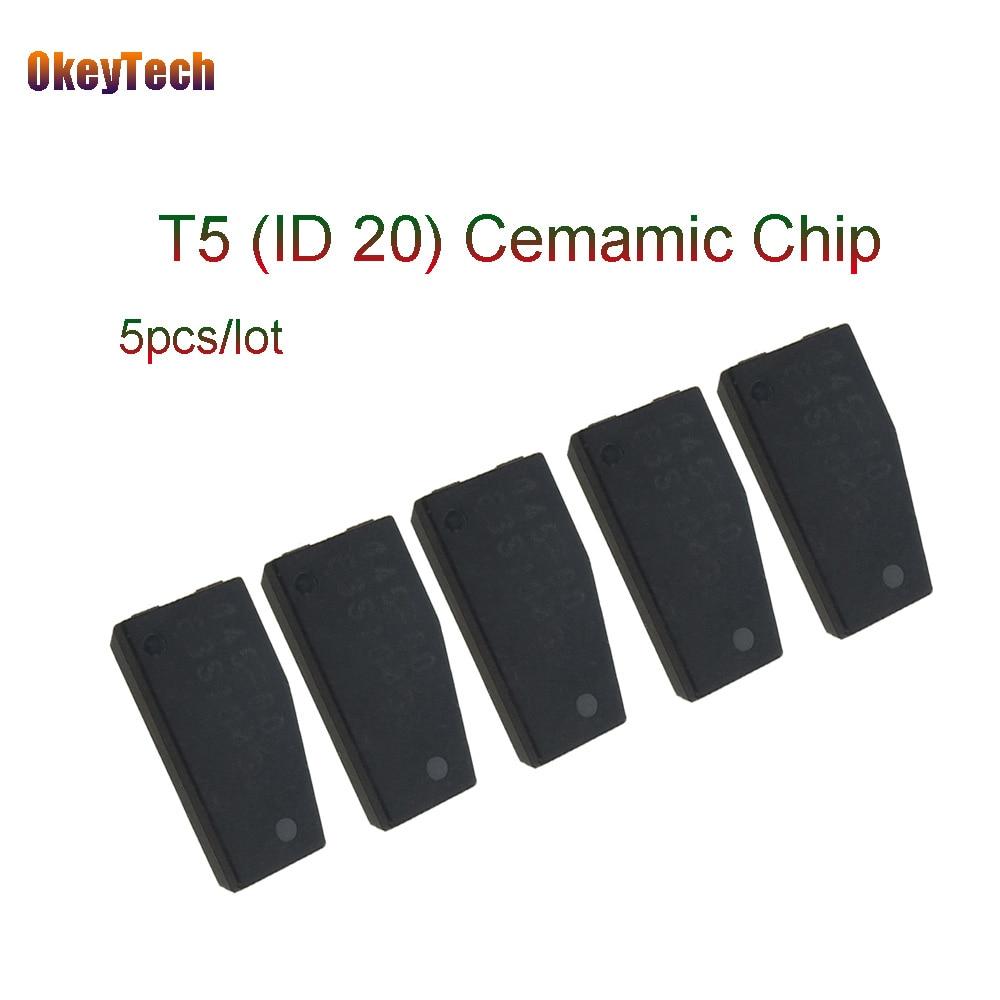 OkeyTech 5pcs/lot Professional T5 ID20 Car Key Chip Blank Ceramic Carbon Original Unlock Transponder for Locksmith Tool T5 Chip 5pcs lot realtek rts5117 communication control chip