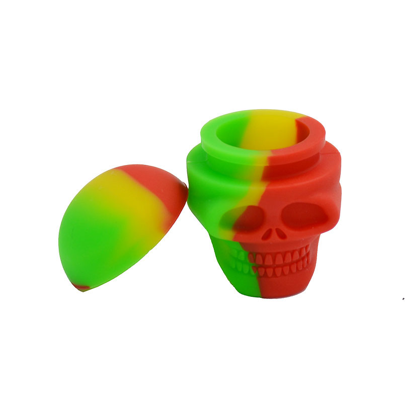 5pcs Non Stick Bho 3ml Skull Silicone Slick oil weed container jars and Dabber Dab wax jar Rubber Dabbing wax container