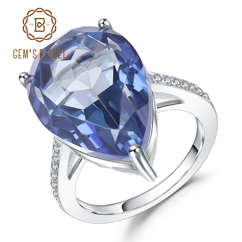 GEM'S BALLET Luxury 10.68Ct Natural Iolite Blue Mystic Quartz Gemstone Rings 925 Sterling Silver Ring For Women Fine Jewelry