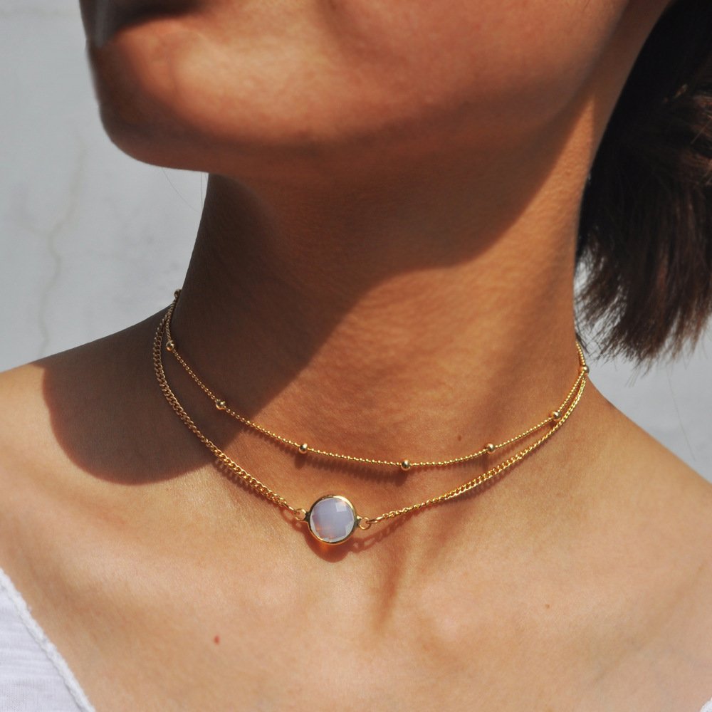 10 Pcs Gold Color Crystal Pendant Chocker Necklace Double Chains Beads Necklaces for Women Fashion Jewelry Collier Ras Du Cou