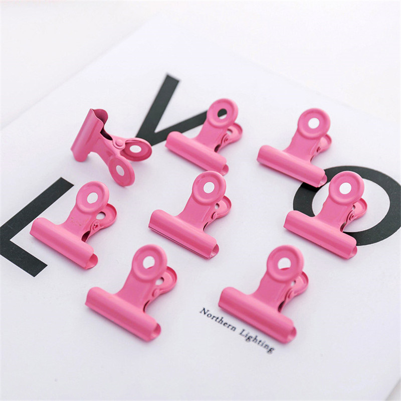 High Quality Solid Color Metal Binder Clips Thick School Office Supply Paper Photo Organizer Stationery Decorative Metal Clips