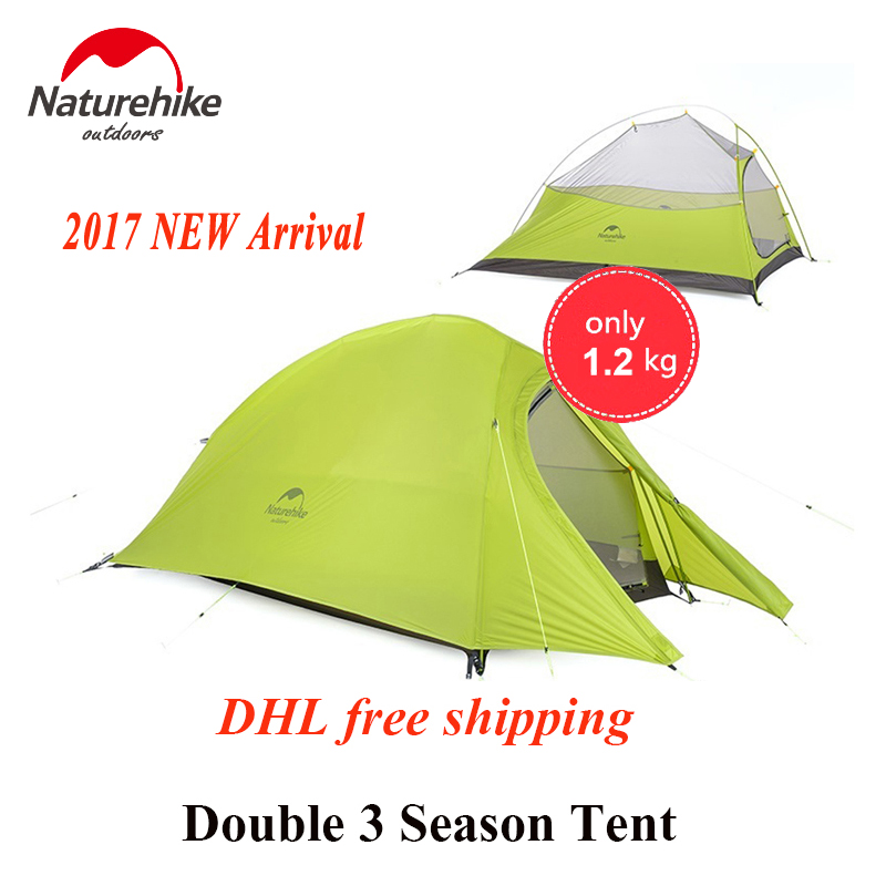 Naturehike 2017 New Arrived 2 Person 3 Season Tent 20D Silicone Fabric Double-layer Camping Tent NH Light Tent DHL Free Shipping naturehike 3 person camping tent 20d 210t fabric waterproof double layer one bedroom 3 season aluminum rod outdoor camp tent