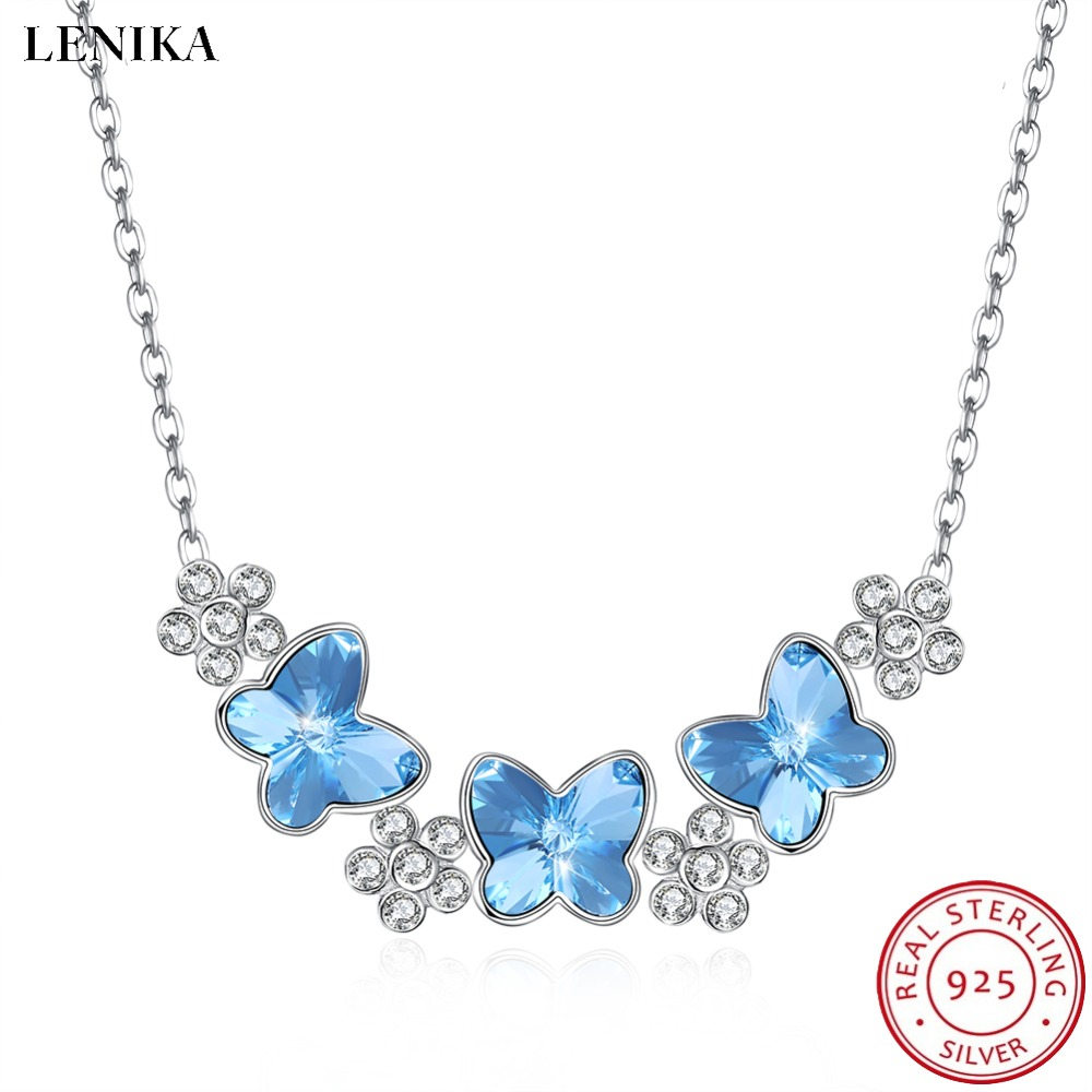 LEKANI Necklaces For Women Fashion Super Butterfly Crystals From Swarovski Necklaces Pendants Real 925 Silver