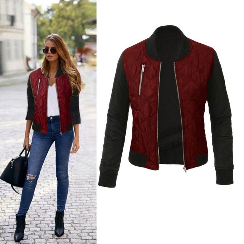 Autumn Winter Leisure Fashion Solid Women Jacket O neck Zipper Stitching Quilted Bomber jacket 2019 New Women Coats
