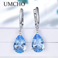 UMCHO Genuine 925 Sterling Silver Clip Earrings for Women Nano Blue Topaz Gemstone Engagement Wedding Anniversary Fine Jewelry