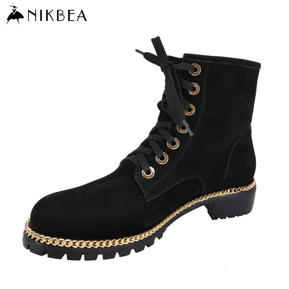 Nikbea Suede Lace Up Martin Boots Vintage Flat Boots Short Pu Leather Boots for Women 2016 Winter Booties Autumn Shoes Botas fall flat black waterproof 2017 women shoes retro front lace up casual ankle boots autumn patent leather chunky booties vintage