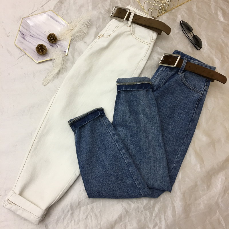 Big Size S-5XL Fashion Spring And Autumn Women's High Waist Jeans Pants Female Students Leisure Denim Trousers Harem Pants