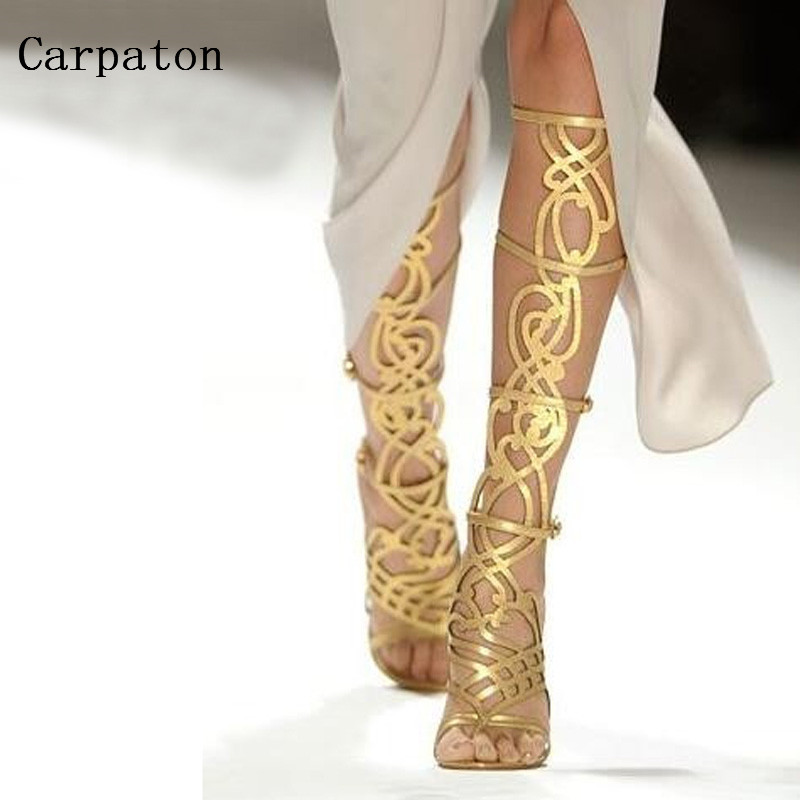 Newest Fashion Summer font b Women b font Knee High Sandals Boots Luxury Gold Metal Decoration