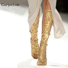 Newest Fashion Summer Women Knee High Sandals Boots Luxury Gold Metal Decoration Cut-Out Open Toe Gladiator Party Dress Shoes