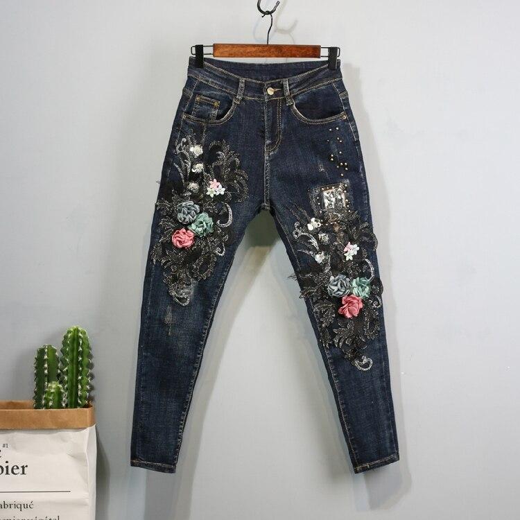 Denim Trousers Denim Pants Women Autumn Winter New Jeans Lace Flower Embroidery Slim Fashion Blue Jeans Stretch Pants Student