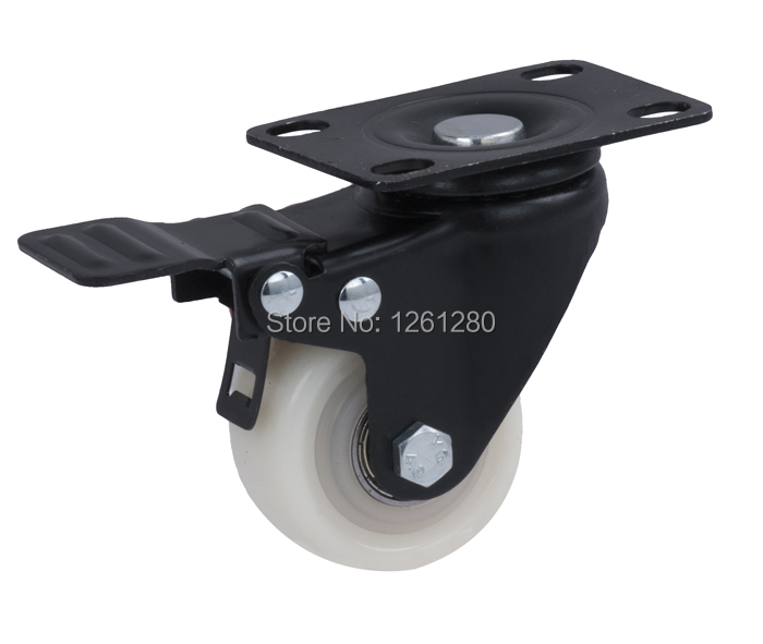 free shipping flat-top PP caster double Ball Bearing wheel with brake hardware tool furniture Material Handling Equipment Part coal handling and equipment selection