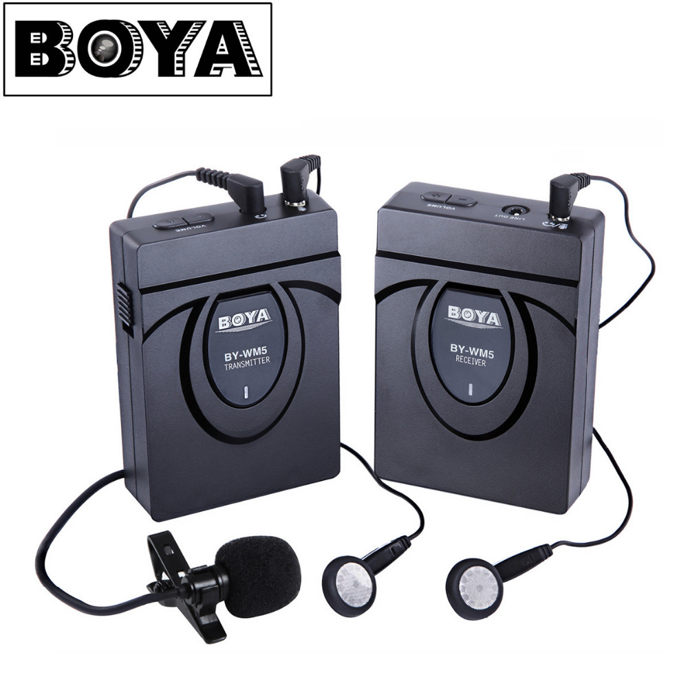 BOYA BY-WM5/WM6/WM8 Camera Wireless Lavalier Microphone Recorder System for Canon 6D 600D 5D2 5D3 Nikon D800 Sony DV Camcorder boya by wm5 dslr camera wireless lavalier microphone recorder system for canon 6d 600d 5d2 5d3 for nikon d800 forsony dv camcord