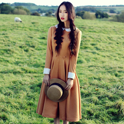Spring and Autumn ancient style retro dress country wind women 's clothing arts long sleeve large Department dress wj775
