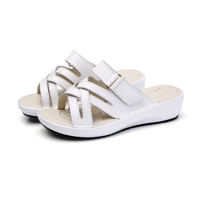 Summer women slippers slip on round toe flat slides sandals women Thick bottom and dermis leather slippers flip flops slippers women camouflage herringbone slippers massage bottom sandals