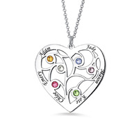 AILIN Custom Family Tree Necklace With Birthstone&Name For Mother's Day Gift For Her In Size 6 12 In Sterling Silver