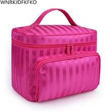 Woman Cosmetic Bags Striped Pattern Organizer Makeup Bag Travel Toiletry Bag Large Capacity Storage