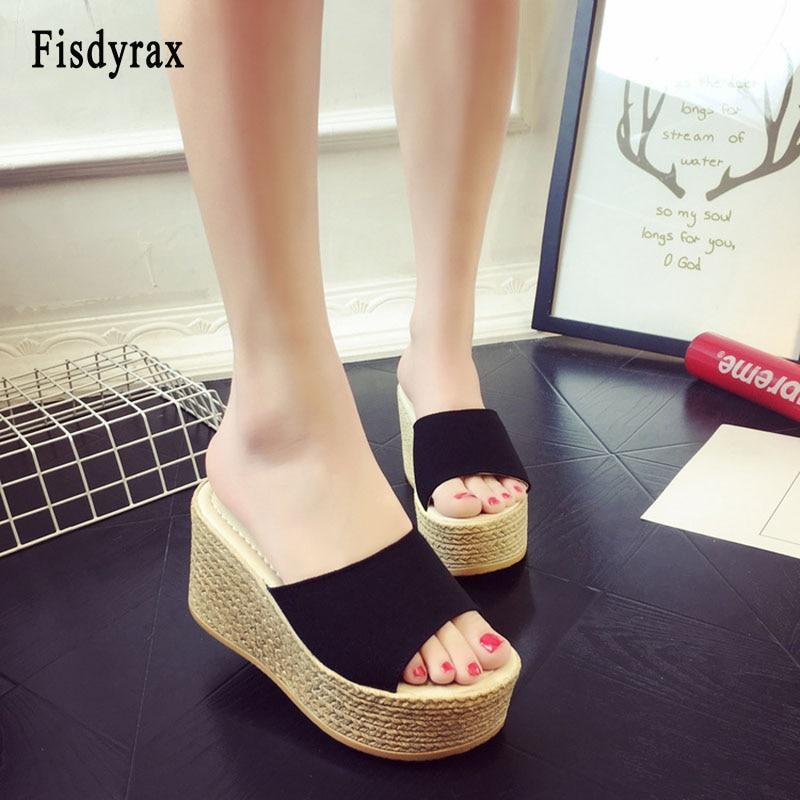 Fisdyrax Wedge Slippers Sandals Platform Basic-Clog High-Heels Women Ladies Flop Outside-Shoes