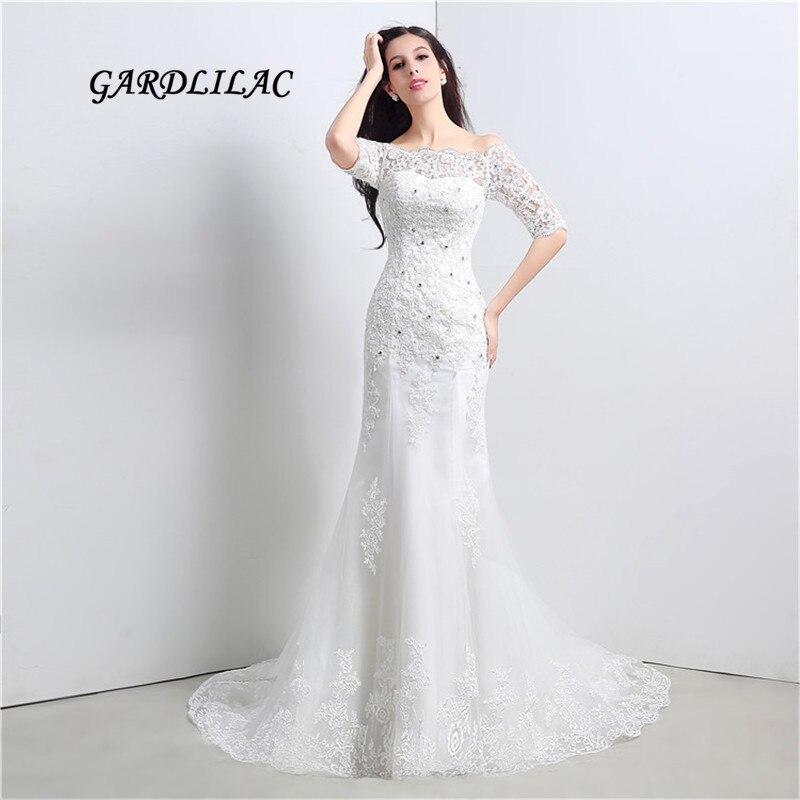 New White Lace Wedding Dresses Half Sleeve Plus Size Wedding Party Dress Bridal Gown Vestido de