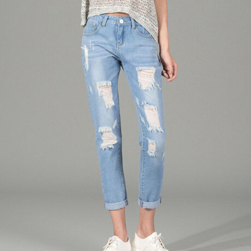 2017 Summer New jeans woman Ripped Holes Fashion Straight Capris Mid Waist Famale Washed Denim Pants