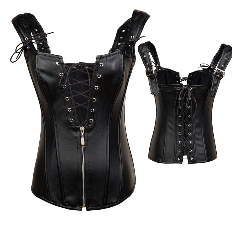 Gothic Punk Faux Leather Corset Sexy Black Zipper Steampunk Corset Overbust Lace Up Back Vest Corset Women Waist Cincher Corset