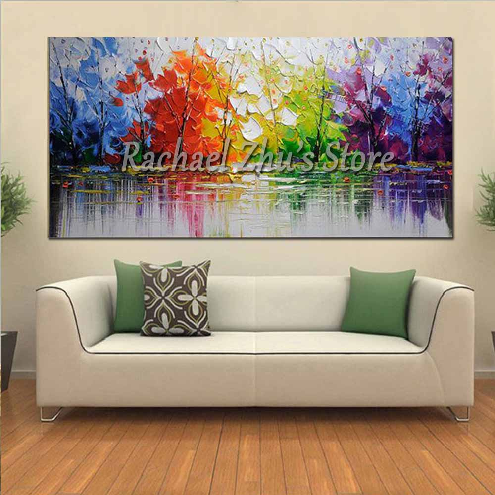 Купить с кэшбэком Hand Painted Abstract Colorful Palette Knife River Landscape Oil Painting On Canvas Wall Picture Living Room Bedroom Home Decor