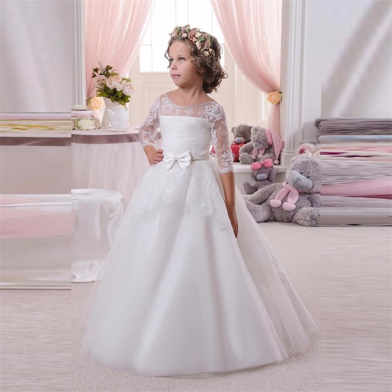Floor Length Lace Ball Gown Flower Girls Dresses Simple